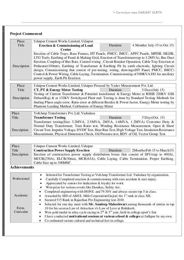 Resume of Electrical Engineer