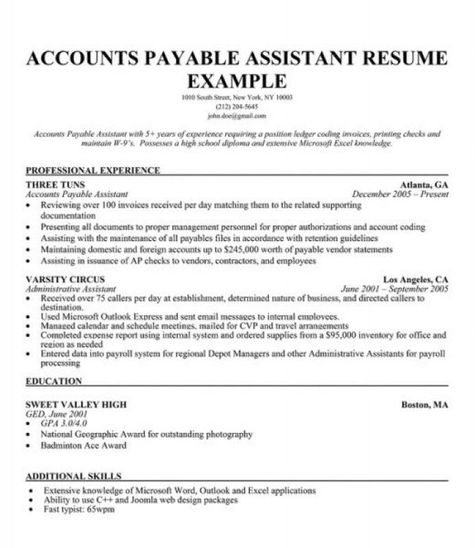 accounts payable resume examples accounts payable resume