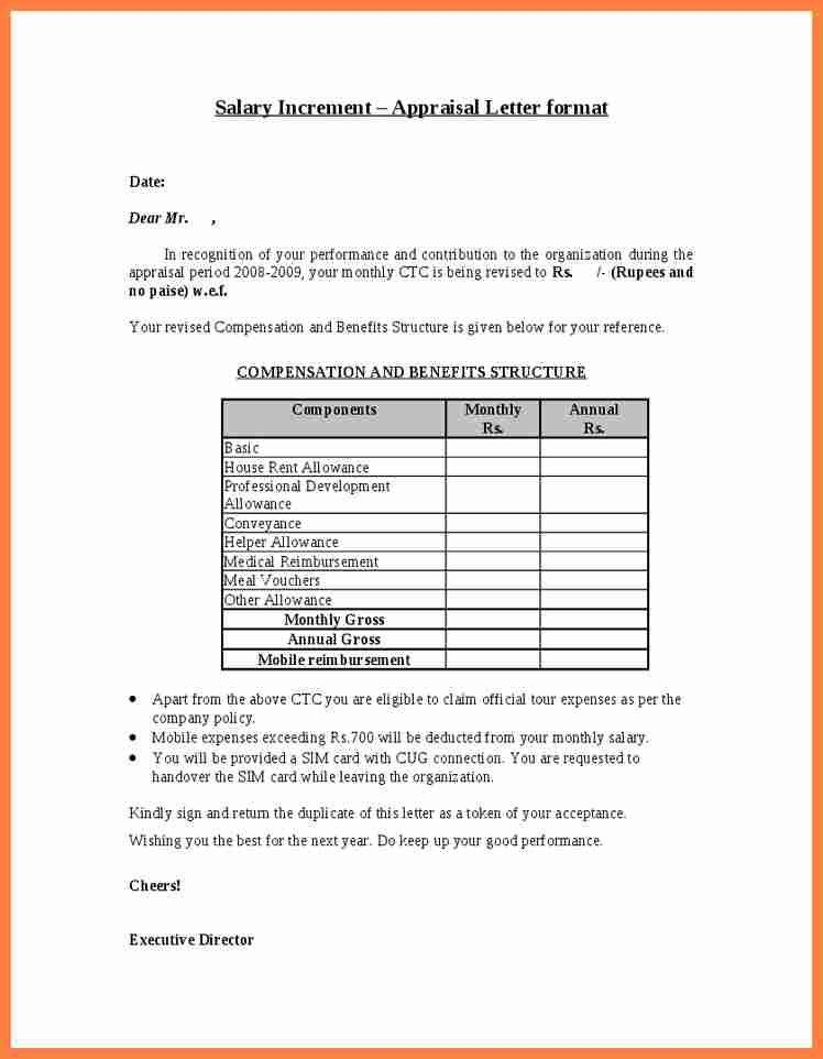 Annual Increment Letter | Examples.billybullock.us