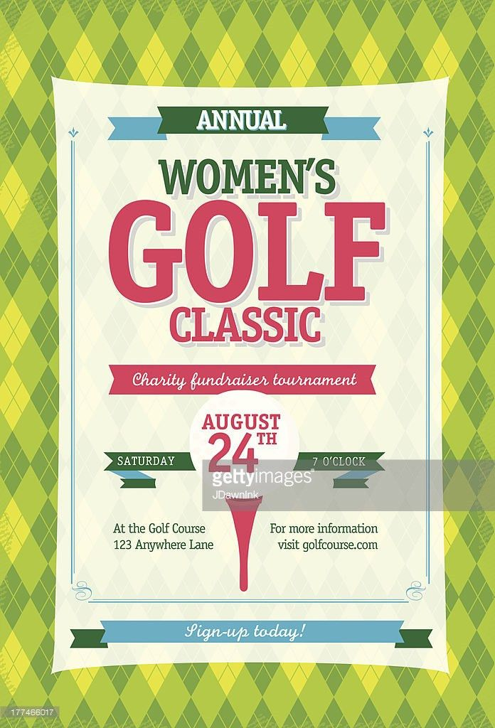 Golf Tournament Invitation Flyer With Grass And Ball Vector Art ...
