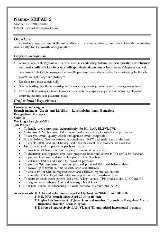 Resume-Banking