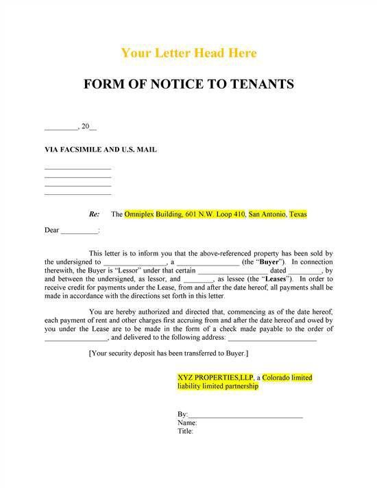Notice To Tenant's Of Sale: REALCREFORMS