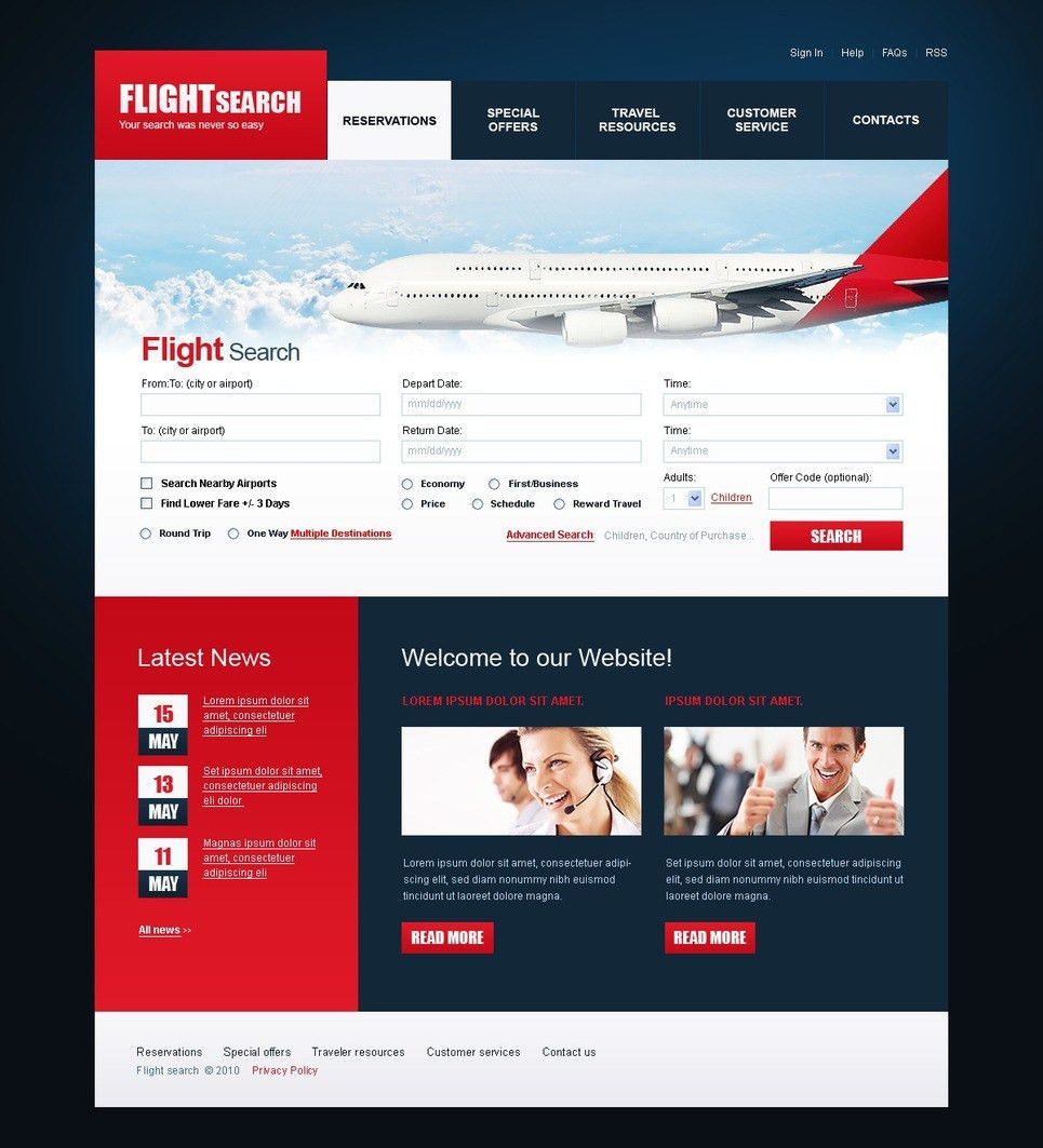 Airline Tickets PSD Template #54086