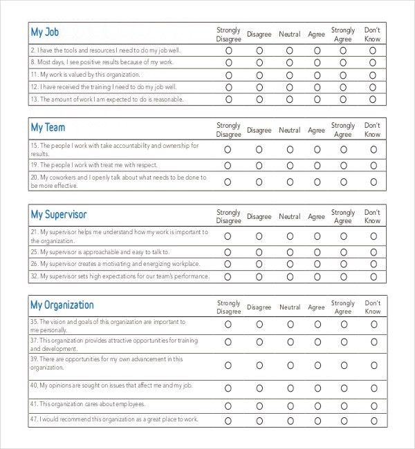 12+ Employee Survey Templates – Free Sample, Example, Format ...
