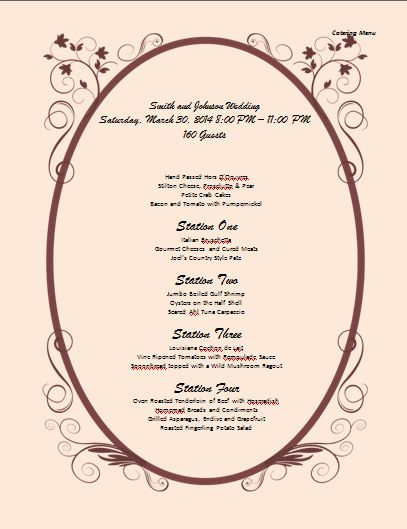 catering menu example | Microsoft Word Templates