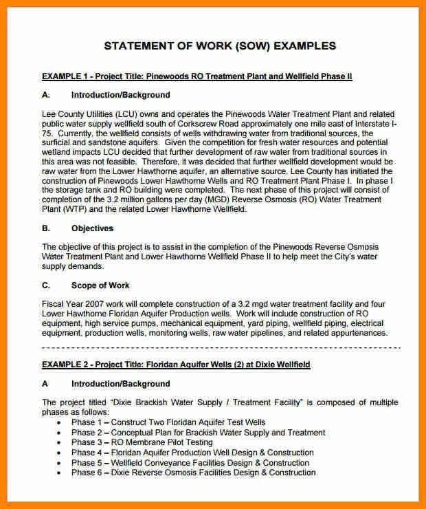 7+ consulting statement of work template | job resumed