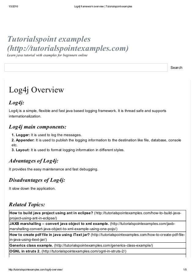 Log4j framework overview tutorialspoint examples
