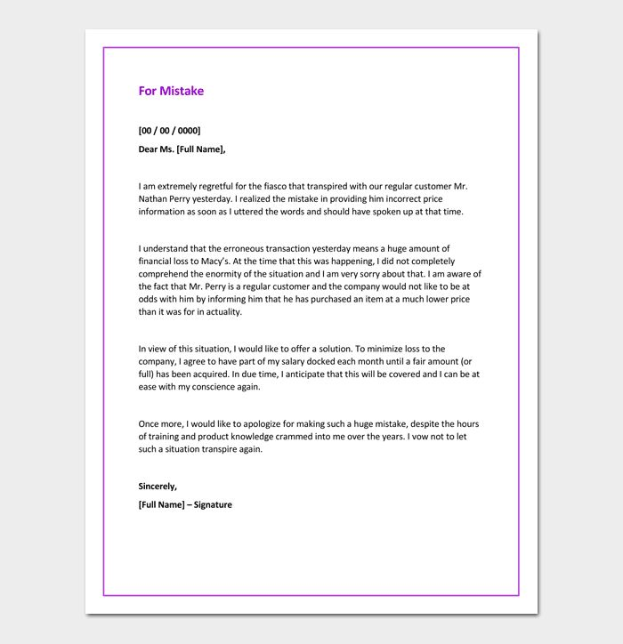 Apology Letter For Mistake   5+ Samples, Examples U0026 Formats