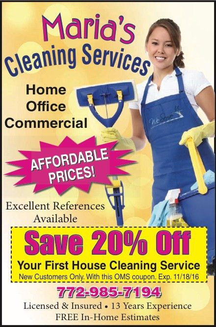 Coupons for Maria's Cleaning Services | My Living Magazines