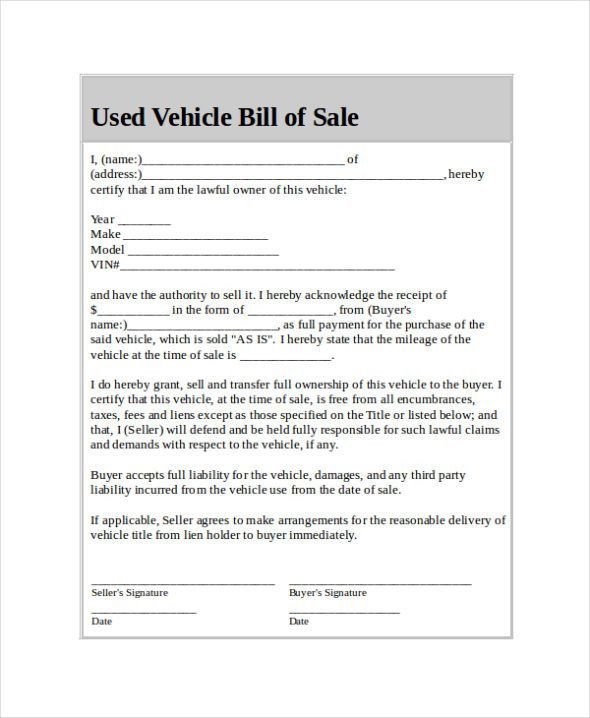 Car Bill of Sale Form Template Printable