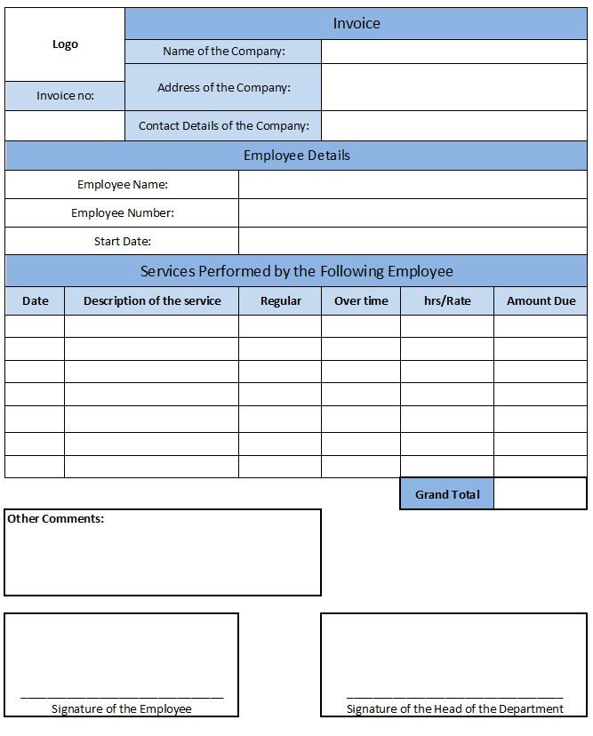 Payroll Invoice Template | Invoice Template