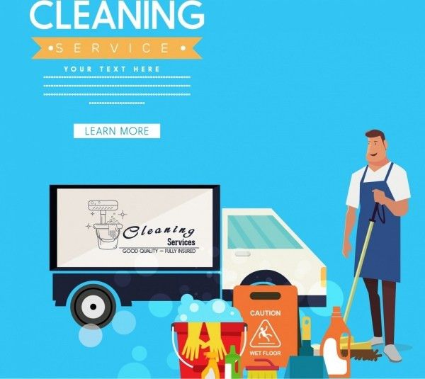 Cleaning service advertising housework tools icons ornament Free ...