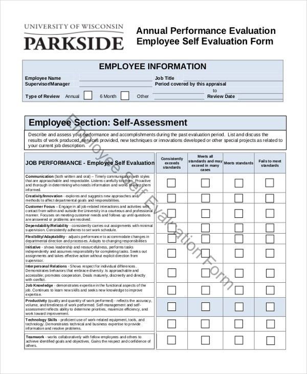 Sample Employee Self Evaluation Form   10+ Free Documents In Word, PDF  Employee Self Evaluation Forms Free
