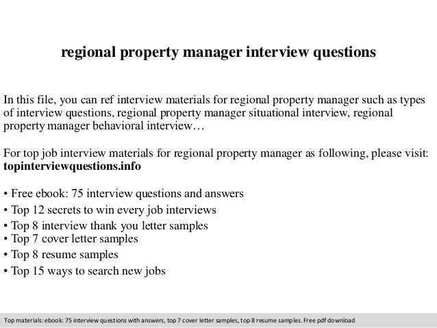 Regional property manager interview questions