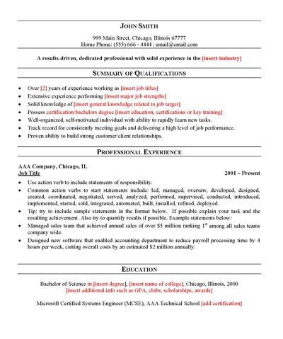 Free General Resume Template | Sample resume templates, Resume ...