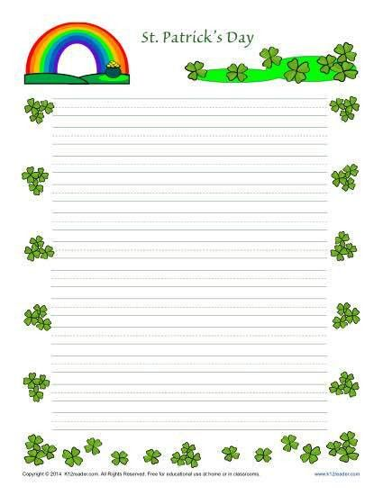 St. Patrick's Day Printable Lined Writing Paper
