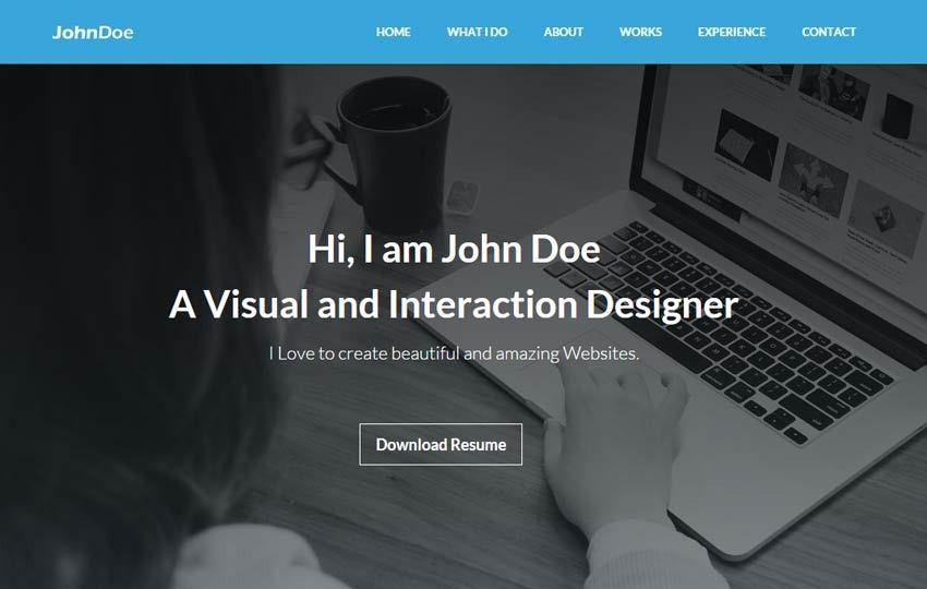 Portfolio Resume Bootstrap Template - WebThemez