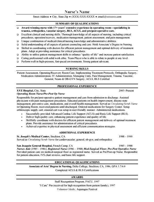 nursing resume template free example nursing nurse resume free ...