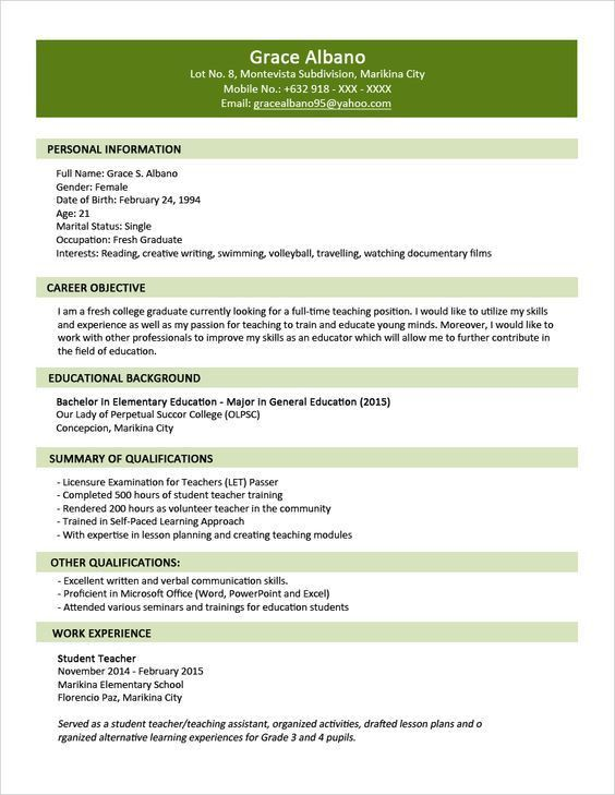 Sample Resume Format for Fresh Graduates - Two-Page Format 1.1 ...