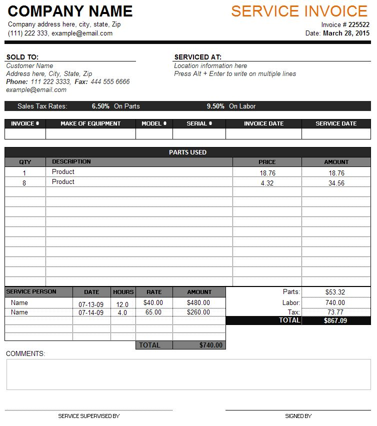 Service Invoice Template with Tax and Parts Details | Service ...
