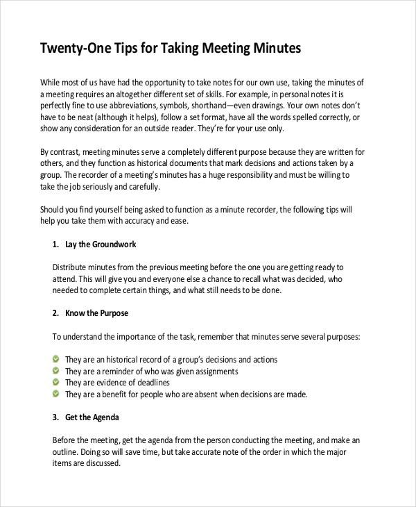 12+ Taking Minutes Template – Free Sample, Example Format Download ...