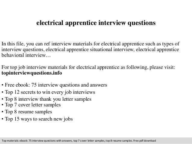 Electrical apprentice interview questions