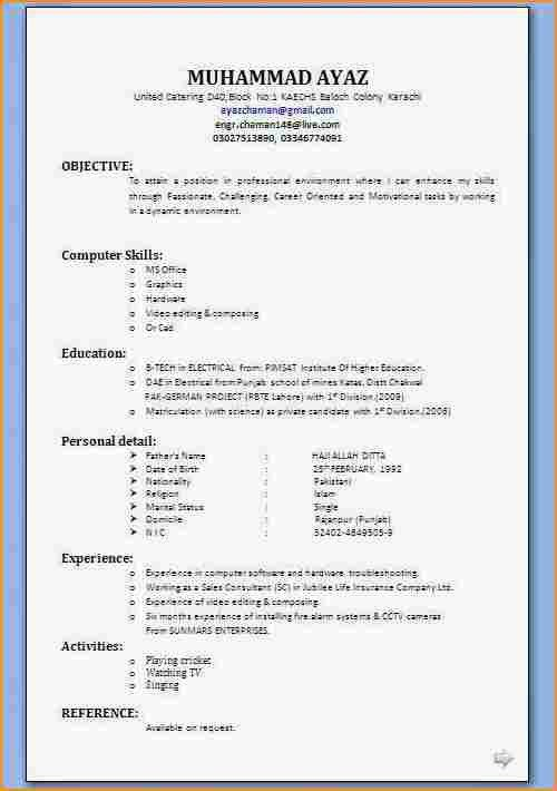 12+ format of resume for job application to download - Basic Job ...