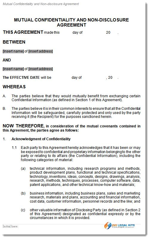 Mutual Confidentiality or non disclosure Agreement Template