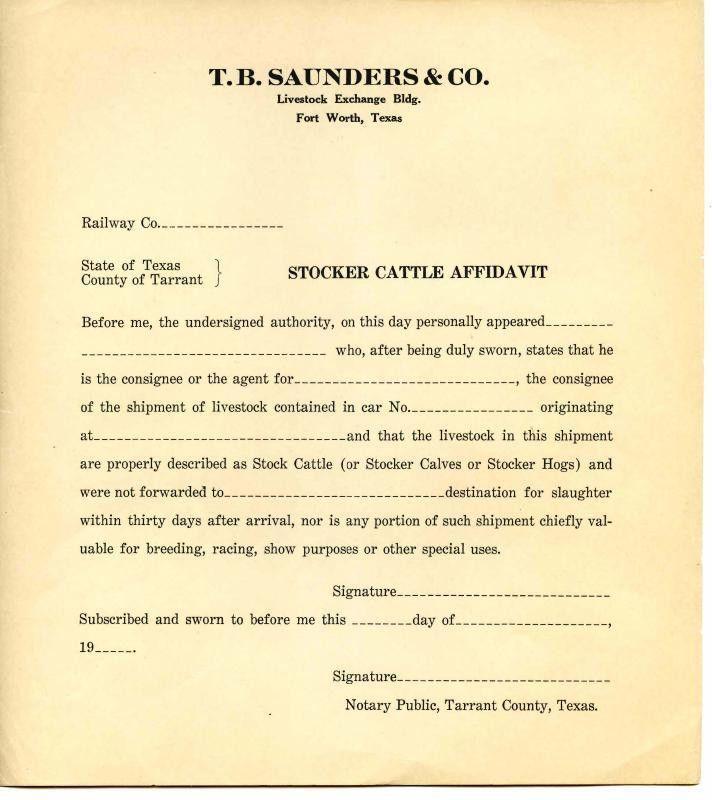 "Stocker cattle affidavit, ""blank"" with T.B. Saunders & Co. letterhead"