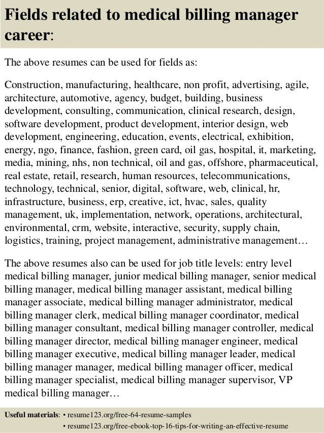 Top 8 medical billing manager resume samples