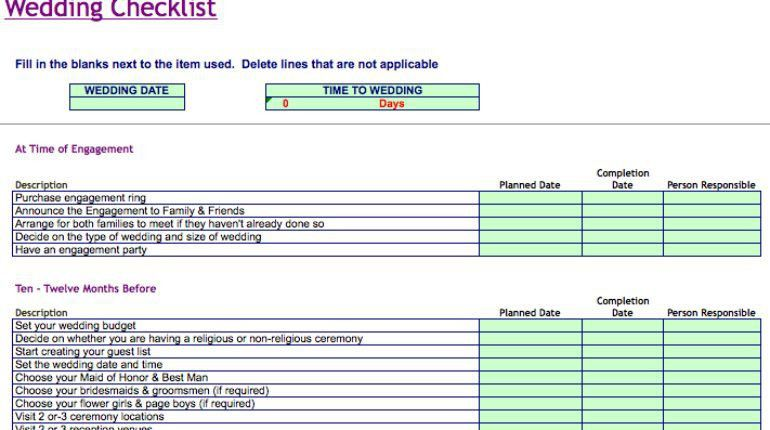 Simple Detailed Wedding Checklist Template Excel Invoice - DIY ...