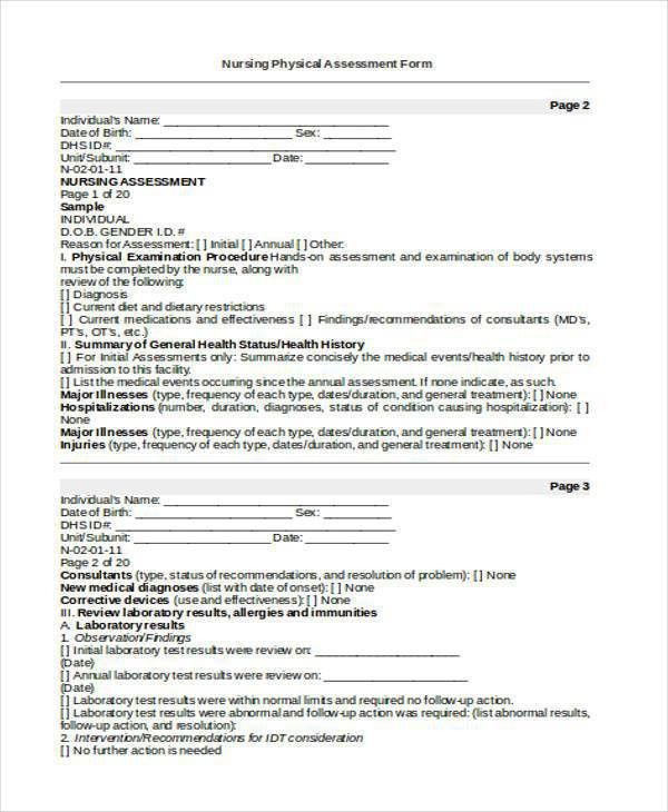 Sample Blank Assessment Forms - 28+ Free Documents in Word, PDF