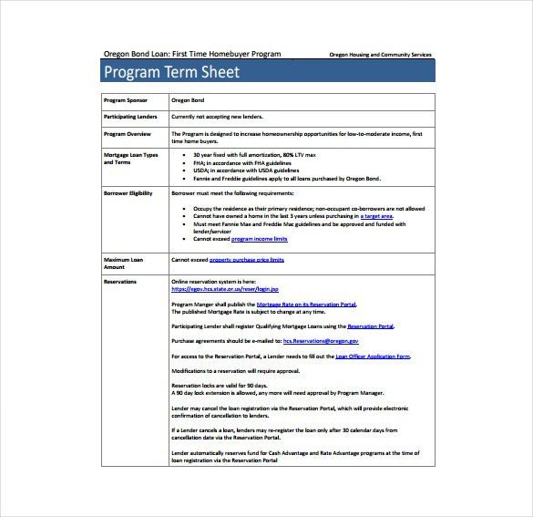 11+ Term Sheet Template - Free Word, PDF Documents Download | Free ...