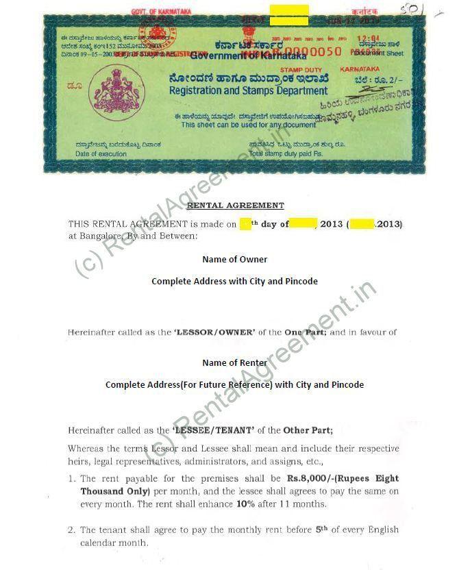 Rental Agreement Format - Agreement & Affidavit - Rental Agreement ...