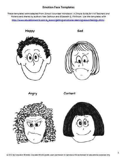 Education World: Emotion Face Templates