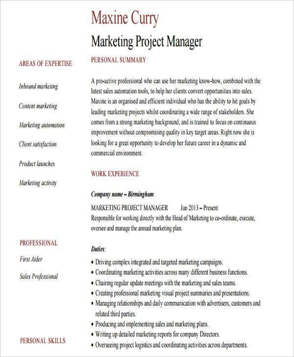 46+ Professional Marketing Resume | Free & Premium Templates