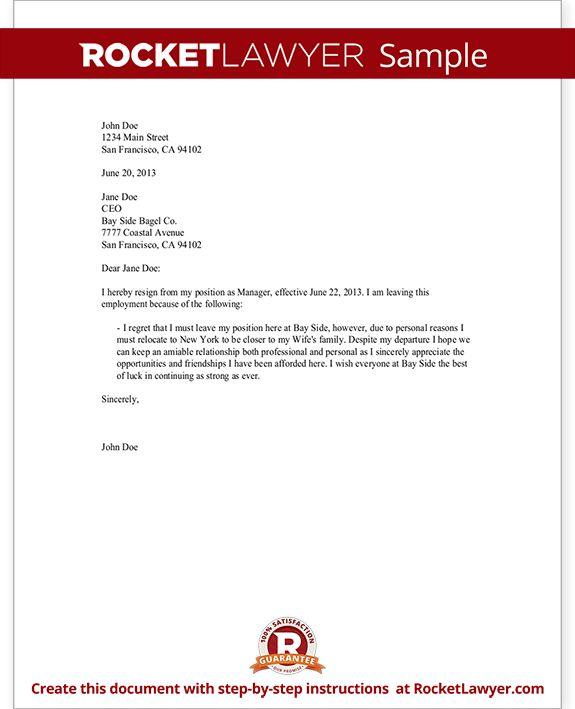 Resignation Letter Sample - Employee Resignation Form | Rocket Lawyer