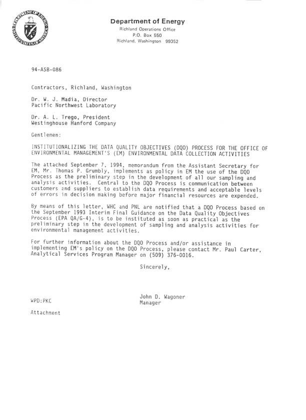 Cover Letter from John Wagoner, DOE-RL