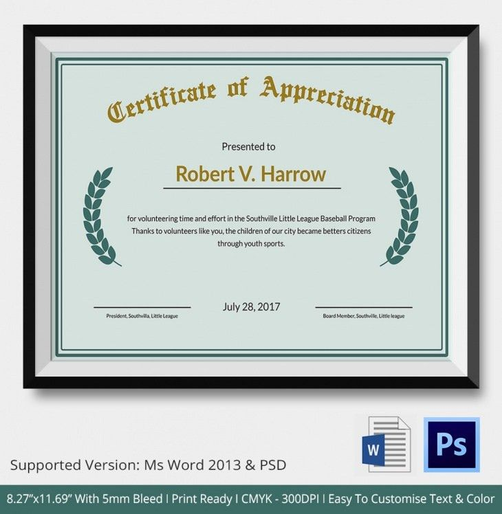 Certificate of Appreciation - PSD & Word Designs | Design Trends ...