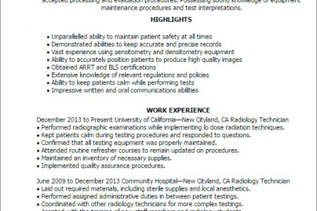 Radiologic Technologist Resume Templates, Radiology Tech Resume ...