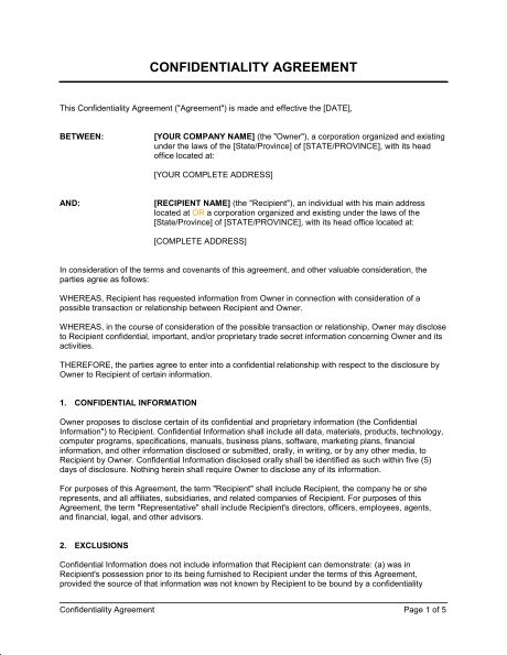Confidentiality Agreement - Template & Sample Form | Business-in-a-Box