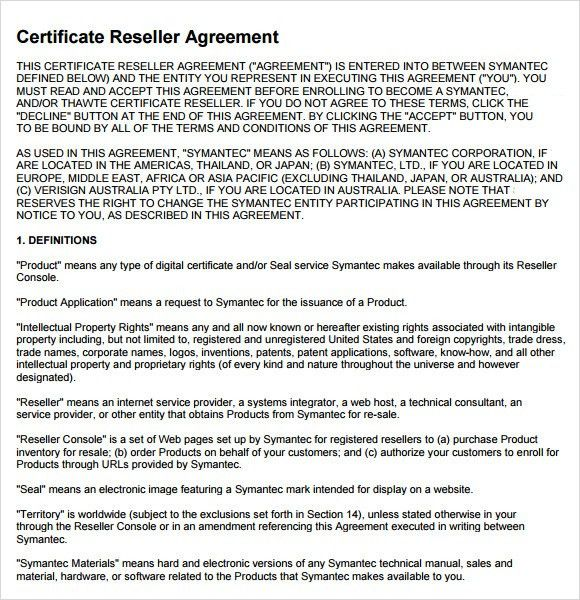 Sample Reseller Agreement - 6+ Examples, Format