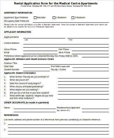 Sample Rental Application Form in Word - 8+ Examples in Word
