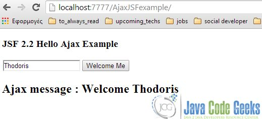 Ajax Example with JSF 2.0 | Examples Java Code Geeks - 2017