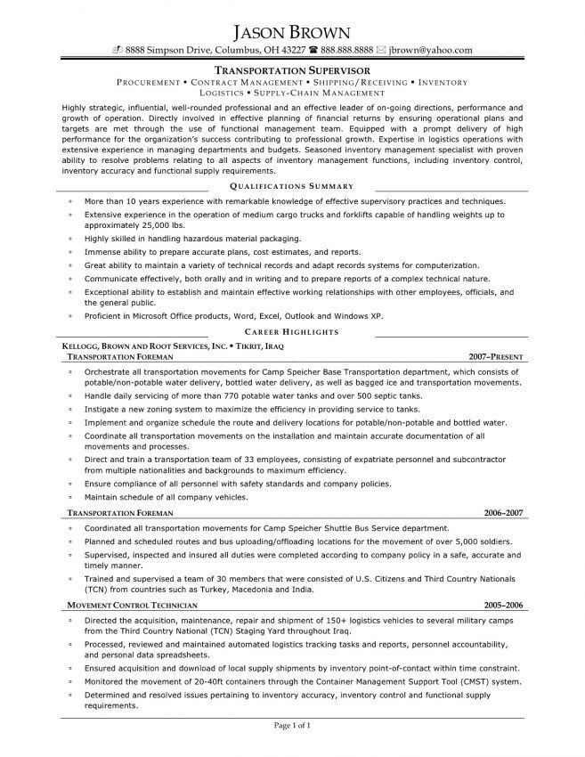 12 Supervisor Job Resume Resume supervisor job descriptions duties ...
