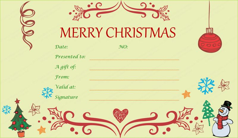 Christmas Gift Certificate Templates - Printable & Editable for Word