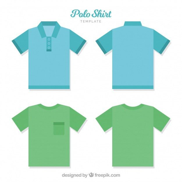 Polo shirt template with bottons and pocket Vector | Free Download