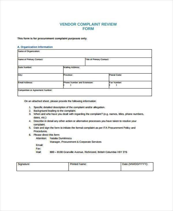 8+ Vendor Complaint Form Samples - Free Sample, Example Format ...