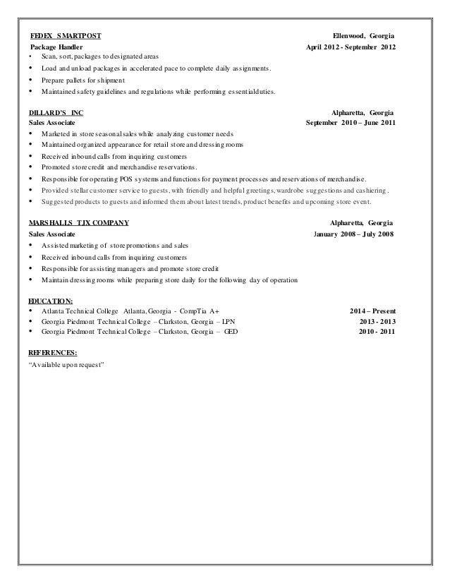 Fedex Dock Worker Sample Resume 13+ package handler resume by nina - fedex dock worker sample resume