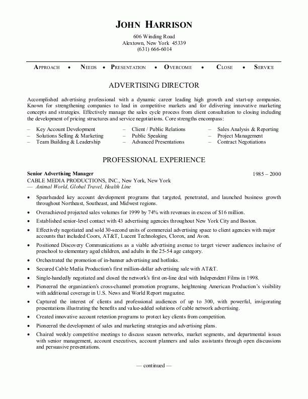 advertising director resume job description